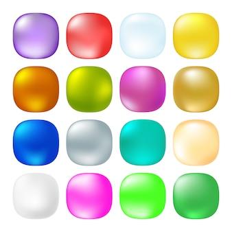 Botões quadrados opacos brilhantes.