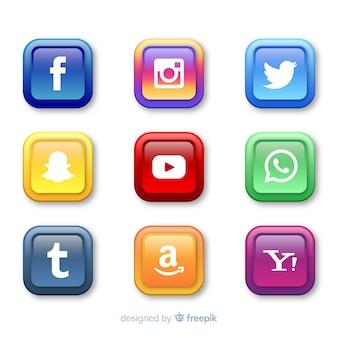 Botões realistas com coleção de logotipo de mídia social