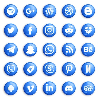Botões redondos de mídia social e conjunto de ícones.