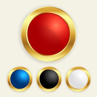 Botões redondos dourados luxuosos ajustados em cores diferentes