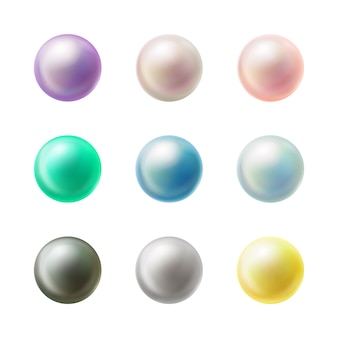 Botões redondos em branco coloridos realistas