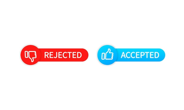 Botões rejeitados e aceitar. polegar para cima e para baixo. vetor eps 10. isolado no fundo branco.