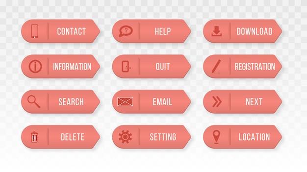 Botões retangulares coloridos da web entre em contato conosco. elementos de design para site ou aplicativo.