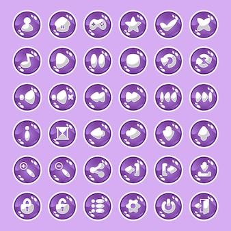 Botões roxos com ícones.