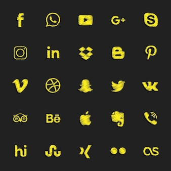 Botões sociais amarelo cravejado