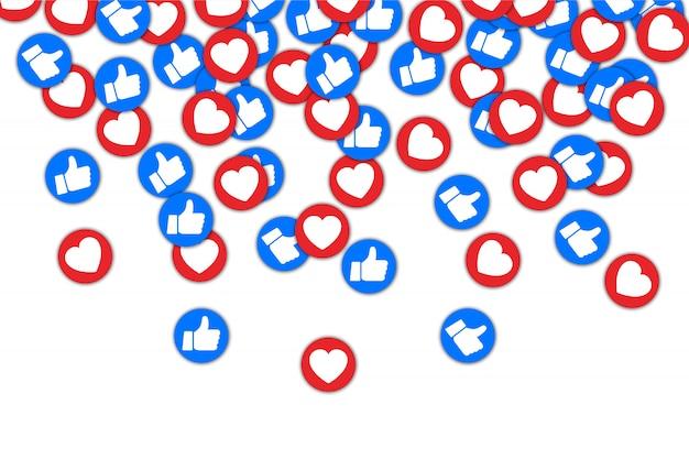 Botões sociais polegar para cima e coração vermelho