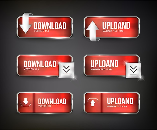 Botões vermelhos de download da web em aço na cor de fundo preta