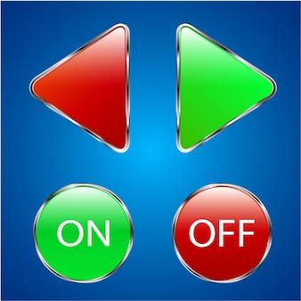 Botões vermelhos e verdes