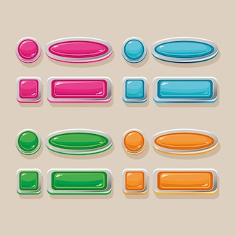 Botões vetoriais de cores diferentes para o design da interface do jogo