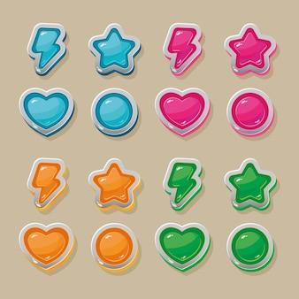 Botões vetoriais de moedas estrelas, energia e vida para design de jogos