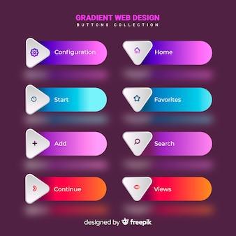 Botões web diferentes em estilo gradiente