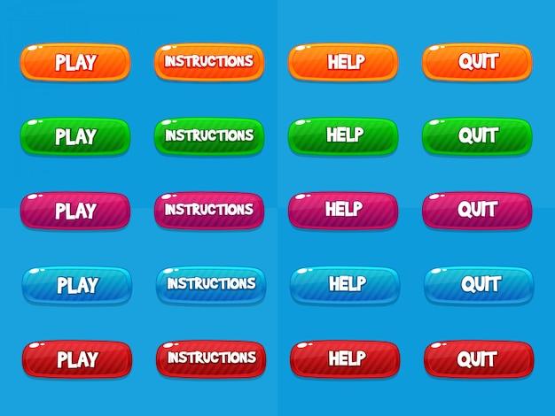 Botões web, elementos de design de jogos