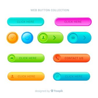 Botões web modernos em estilo gradiente