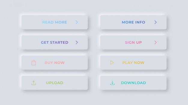 Botões web modernos limpos