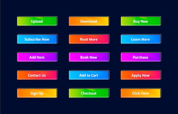 Botões web na moda em estilo gradiente