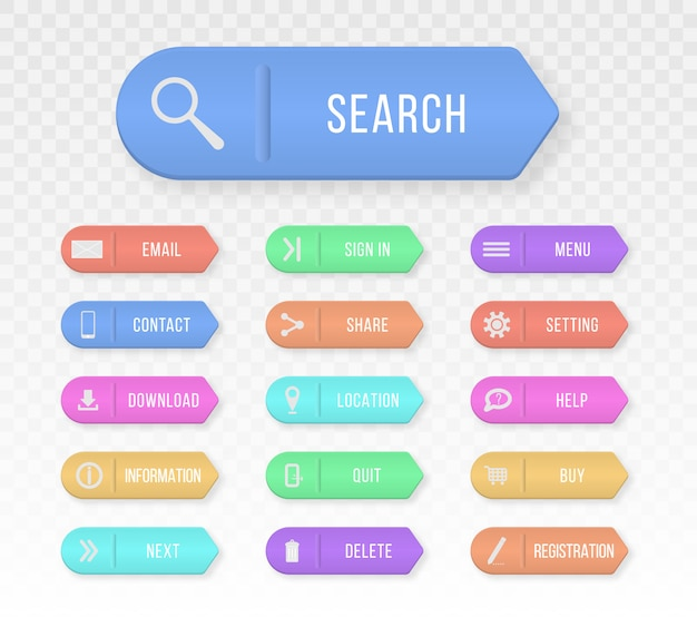 Botões web retangulares coloridos entre em contato. elementos de design para o site ou aplicativo.