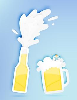 Botte e copo de cerveja com bolha e homem engraçado em ilustração vetorial de estilo de corte de papel
