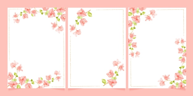 Bougainvillea rosa aquarela com moldura de linha mínima para coleção de modelos de cartão de convite de casamento ou aniversário