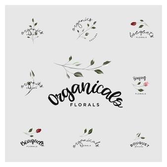 Bouquet botânico orgânico e logotipos florais