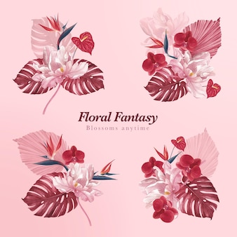 Bouquet com aquarela floral de pampa
