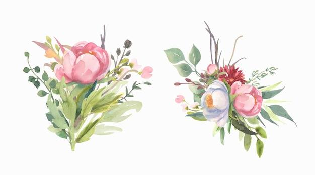 Bouquet com flores, rosas, folhas verdes.