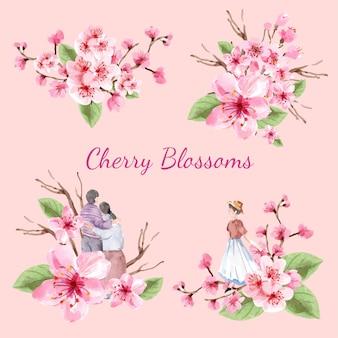 Bouquet com ilustração em aquarela de design de conceito de flor de cerejeira