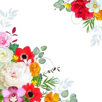 Bouquet com peônia e anêmonas