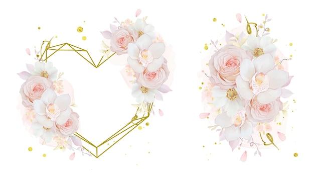 Bouquet de aquarela e moldura de amor de orquídea rosa rosa e flor de anêmona