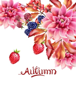 Bouquet de bagas e flores de outono