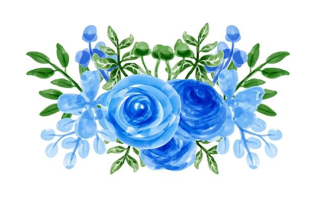 Bouquet de flores azuis com aquarela