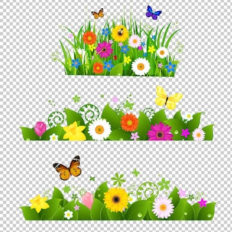 Bouquet de flores de verão com ilustração de gradiente de malha