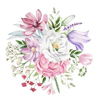 Bouquet de flores em aquarela