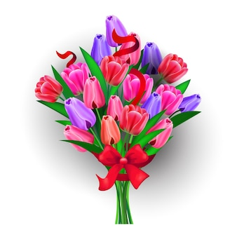 Bouquet de flores feminino dia 8 de março feriado celebração banner panfleto ou cartão comemorativo ilustração isolada