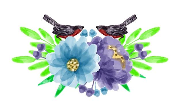 Bouquet de flores roxas azuis e pássaros com aquarela