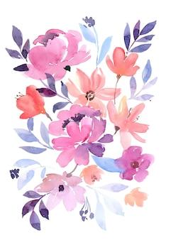 Bouquet de peônias roxas macias aquarela