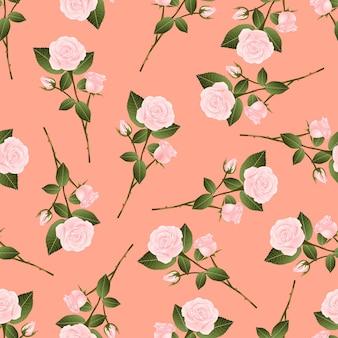 Bouquet de rosa rosa em fundo laranja pêssego