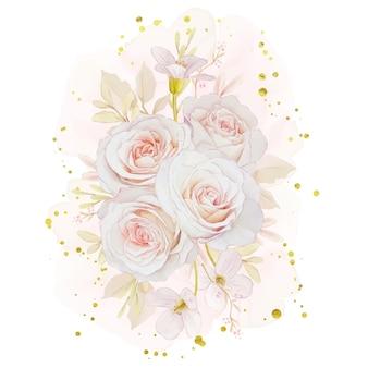 Bouquet de rosas em aquarela