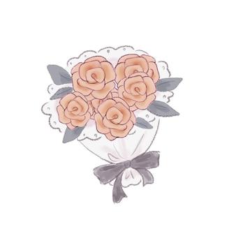 Bouquet de rosas. sobre um fundo branco.