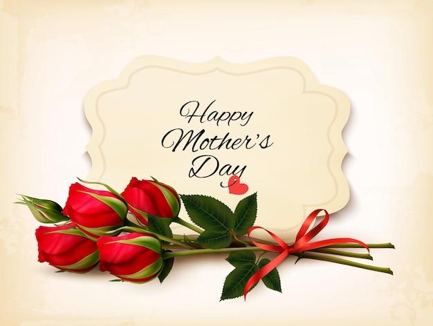 Bouquet de rosas vermelhas. plano de fundo dia das mães. vetor.