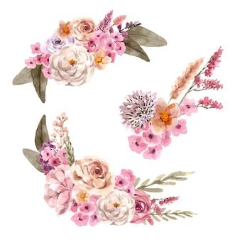 Bouquet de vinho floral com flor de ptilotus, rosa, ilustração de aquarela de peônia.