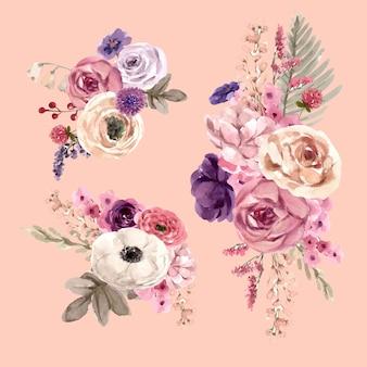 Bouquet de vinho floral com ilustração em aquarela de mouquet, rosa, lisianthus.
