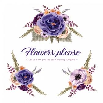 Bouquet de vinho floral com rowan, crisântemo, ilustração de aquarela de tremoços.