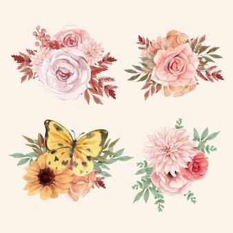Bouquet definido em estilo aquarela