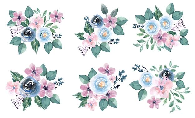 Bouquet em aquarela com flores azuis e rosa pastel