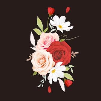 Bouquet em aquarela de rosas cor de rosa e vermelhas