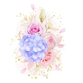 Bouquet em aquarela de rosas e flor de hortênsia azul