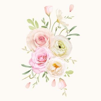Bouquet em aquarela de rosas e ranúnculos