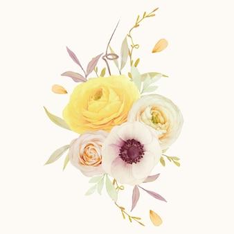 Bouquet em aquarela de rosas, ranúnculos e flores de anêmona