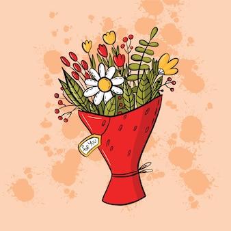 Bouquet em ilustração de estilo doodle para o dia dos namorados