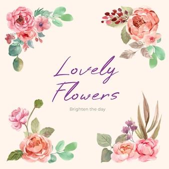 Bouquet floral com amor florescendo ilustração em aquarela de conceito